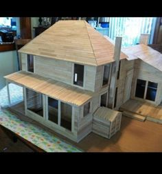 Model house made of popsicle sticks