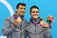 David Boudia and Nick McCrory after winning bronze in men's 10m synchronized platform