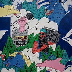 Detail of the mural for @carltondry Boom Box Barry Henry the Horse Douggie the Dolphin Ollie the Other Dolphin Stevo the Skull and Farkas the Four Eyed Dog were always up for a good time. Their favourite group activity to do together was dance battles. Boom Box Barry would rock up with his 80s boom box and turn up the jams and then each member of the troupe would try to out do each other with the most outrageous dance moves. One time Ollie the Other Dolphin did 13 consecutive spins on his…