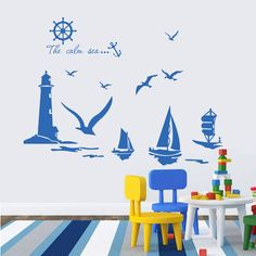 Vinyl Wall Stickers Home Decor Sailboat Lighthouse Seagull Wall Art Decals for Kids Room Decoration Stickers-in Wall Stickers…