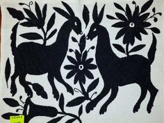 "Hand Embroidered Mexican Otomi Tenango Fabric Folk Art approx. Black 16.5"" X 13.5"" #106T"