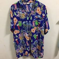 Hawaiian Shirt Men's L Short Sleeve Pullover Cotton Sailboat Nautical Sea  | eBay