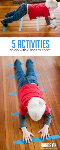 5 simple activities for kids to do with the same 6 lines of tape! via Jamie Reimer 5 simple activities for kids to do with the same 6 lines of tape! Physical Activities For Kids, Sensory Activities, Educational Activities, Learning Activities, Preschool Activities, Physical Education, Health Education, Toddler Gross Motor Activities, Character Education