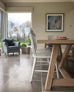 """Home&Lifestyle By Sarah Battle on Instagram: """"Good Morning 🍂 I often wonder how many times a day I clean this table and the floor around it . It takes some wear and tear not to mention…"""" Open Plan Kitchen, Me Clean, Open Concept, Bungalow, Dining Bench, Battle, Cleaning, Flooring, How To Plan"""