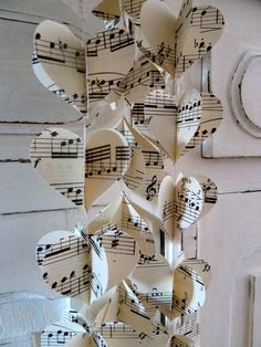 Wedding garlands hearts made from music sheets