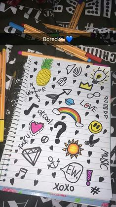 Notebook Drawing, Notebook Doodles, Notebook Art, Doodle Art Journals, Art Drawings Sketches Simple, Doodle Drawings, Easy Drawings, Hand Doodles, Simple Doodles