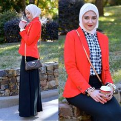 red blazer with checked shirt, Winter hijab street styles by leena Asaad http://www.justtrendygirls.com/winter-hijab-street-styles-by-leena-asaad/
