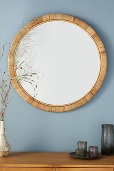 Shop the Solana Rattan Mirror at Anthropologie today. Read customer reviews, discover product details and more. Ste Marguerite, Beautiful Beach Houses, Vintage Mirrors, Oak Dining Table, Ship Lap Walls, Engineered Hardwood, Spring Home, Furniture Decor, Wall Decor