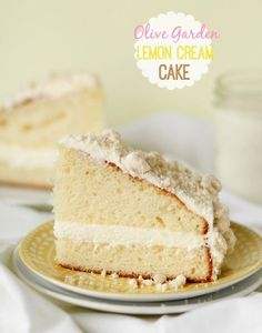 Olive Garden Lemon Cream Cake -- a copycat of the popular Olive Garden dessert.  So light and lemony!!