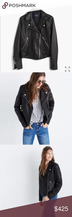 Madewell Washed Leather motorcycle Jacket I wore this jacket once and decided I really wanted to buy it a size larger so I could wear it with sweaters. It's a great deal! Madewell Jackets & Coats