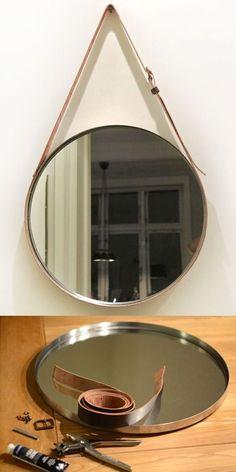 18 Modern Mirror Ideas >> For More Modern Mirror Decor Ideas Diy Crafts For Home Decor, Diy Room Decor, Mirror Crafts, Mirror Makeover, Diy Frame, Diy Design, Decoration, Diy Furniture, Posi