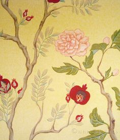 chinoiserie mural, flowring trees, pomegranite and peopny, painted flowers, bathroom mural