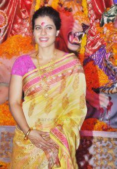 Kajol in bengali saree at Durga puja