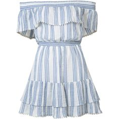 LoveShackFancy Off the Shoulder Striped Dress (4.348.500 IDR) ❤ liked on Polyvore featuring dresses, kirna zabete, kzloves, stripe shop, blue dress, loveshackfancy, above the knee dress, off the shoulder dress and blue cotton dress