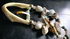 OOAK- Turtle jaws bone, fossil coral scleractinia, rough semi soft hemimorphite, porcupine tooth, aged and old glass and stone beads mix