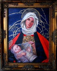"""'Copy of Stokes' Madonna and Child,' oil on panel, 18"""" x 24"""", 2011"""