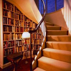 Under Stairs Home Library Decorating Ideas with Inspirational Staircase Design Interior Spiral Staircase For Sale, Curved Staircase, Staircase Design, Staircase Bookshelf, Spiral Staircases, Staircase Ideas, Winding Staircase, Stair Shelves, Foyer Staircase