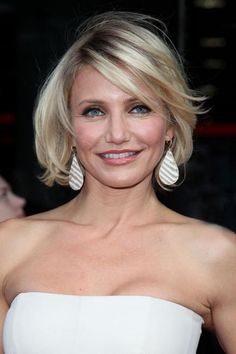 "Cameron Diaz is proof that women with round faces can have bobs, and Cornwell agrees: ""Cameron has a wonderful style, head to toe. When it comes to her hair, she's a standout. She rocks short hair beautifully and longer hair as well. When her hair is short, it has texture, shape and sweeping bangs … all [things] that accent a round face shape beautifully."" #CameronDiaz #RoundFaces"