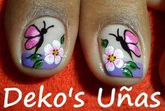 Uñas                                                                                                                                                                                 Más Pedicure Designs, Toe Nail Designs, Summer Toe Designs, Cute Pedicures, New Nail Art Design, Easter Nails, Feet Nails, Girls Nails, Flower Nail Art