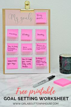 Need a little help achieving your goals? Get your priorities straight with this free printable post it note goal setting worksheet.