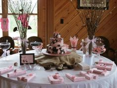 Woodland / Forest Themed Baby Shower for a Girl - Pink and Brown Cake Table with Yarn Letters and Candy Buffet