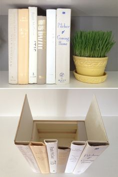 """Hidden storage"" books, I like this Good idea for hiding things - routers, ""stuff"" and whatever doesn't need to be in plain sight. Easy but time consuming!"
