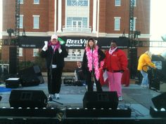 Emily Leonard, Julee Brown and Kelli Karlson (Wizard 106) emceeing the Race for the Cure.