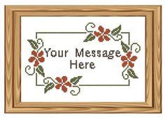 cross stitch floral border patterns | Cross Stitch pattern - Customized Message, Orange Floral