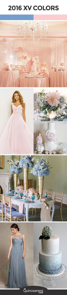 The soft pink tone of rose quartz and the calming shade of serenity make this a unique color theme for a fancy quinceanera bash. Scroll away and find ideas to incorporate these new colors of 2016 to your party! - See more at: http://www.quinceanera.com/decorations-themes/rose-quartz-serenity-are-the-new-colors-of-2016/?utm_source=pinterest&utm_medium=social&utm_campaign=article-122815-decorations-themes-rose-quartz-serenity-are-the-new-colors-of-2016#sthash.jBvzFXqA.dpuf