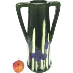 Large Awaji Pottery Iris Vase - Arts & Crafts - Deco Style from belladora on Ruby Lane Pottery Making, Japanese Pottery, Art Deco Design, Vintage Ceramic, Pottery Art, Primary Colors, Iris, Arts And Crafts, Porcelain