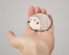Hedgehog Brooch Handpainted Cute art brooch in by teconlene, $28.00
