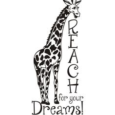 Artist: Unknown Title: Giraffe reach for your dreams! Product type: Vinyl wall art Style: Other Format: Horizontal Size: Medium Subject: Other Matte: Black vinyl Dimensions: 44 inches long x inch Giraffe Quotes, Vinyl Wall Art, Wall Decals, Giraffe Shirt, Funny Giraffe, Giraffe Painting, Giraffe Drawing, Giraffe Pictures, Cricut Vinyl