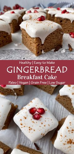 This Healthy Vegan Gingerbread Cake is moist, fluffy, soft and flavorful. It is only sweetened with banana and molasses, gluten free, dairy free, egg free and Paleo friendly. This is the best banana gingerbread cake recipe - healthy enough for breakfast, but tasty enough for dessert. #gingerbreadcake #breakfastcake #paleo #vegan #cassavaflour Vegan Gingerbread Cake Recipe, Gluten Free Gingerbread, Eggless Recipes, Paleo Recipes, Sugar Free Icing, Cassava Flour Recipes, Glass Baking Pan, Baking With Almond Flour, Egg Free Recipes