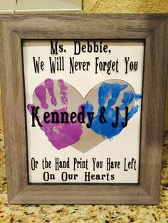Babysitter daycare worker gift vinyl handprint art                              …