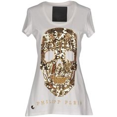 Philipp Plein T-shirt ($360) ❤ liked on Polyvore featuring tops, t-shirts, white, sequin tops, white short sleeve t shirt, white sequin top, white tee and cotton logo t shirts