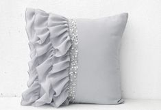 Silver grey ruffled sequin throw pillow - 16X16 Decorative Pillow - Gray cushion cover - Gift Pillow spring, summer. Love this~ #DecorativePillows