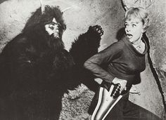 """June Lockhart as Maureen Robinson in, """"Lost in Space"""" (season 1) as she tries hard not to laugh at the ridiculous make-up job on the 'scary alien'."""