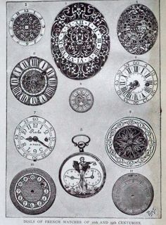 Antique Engraving French Watches dials 16th by MushkaVintage3