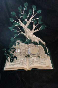 """""""The Hobbit House""""  book sculpture (artist: Jodi Harvey-Brown)"""