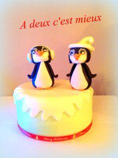 Penguin Christmas Cake #snow # penguin #christmas