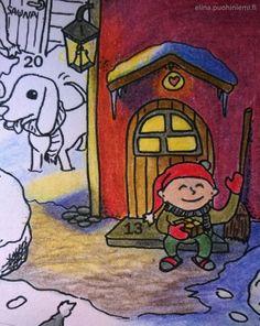 Kolmastoista luukku - Tarinatädin joulukalenterivärityskuva