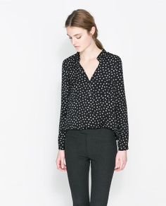 Image 1 of POLKA DOT PRINTED BLOUSE from Zara SIZE SMALL