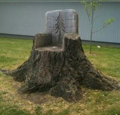 Upcycle a stump. Wow! Very Creative! This might fare better though if treated with something.