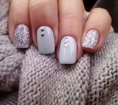 Imagen de nails, glitter, and grey