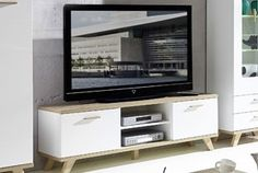 Meuble TV blanc et couleur chêne clair contemporain MALMO