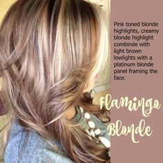 Flamingo blonde- pink blonde highlights with platinum around face. Blond Hair With Lowlights, Dark Blonde Hair, Blonde Color, Blonde Highlights, Blonde Pink, Platinum Blonde, Haircut And Color, Hair Color And Cut, Cool Hair Color
