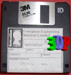 Floppy disc used to transfer data from PC to SLA Also posting data to client companies. PKzip would later be used when file size were greater than the Floppy limit. This disc contains on DOS Floppy Disk, File Size, 3d Printing, Museum, Impression 3d, Museums, 3d Typography