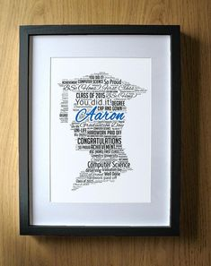 Personalised Graduation Wordart Print Boy or Girl University Gift Graduate Gift