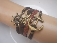 Anchor brown man's bracelet anchor infinity and by IriscaJewelry, $6.90