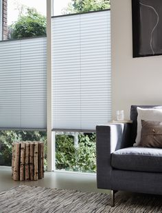 Living Room Blinds, Home Living Room, Window Coverings, Window Treatments, Hunter Douglas, Window Styles, Curtain Designs, Curtains With Blinds, New Homes